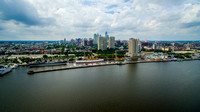 Aerial view of Camden, NJ Riverfront
